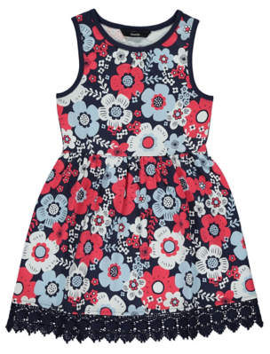 George Crochet Trim Floral Print Dress