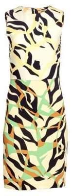 Roberto Cavalli Tiger Print Stretch Cady Dress