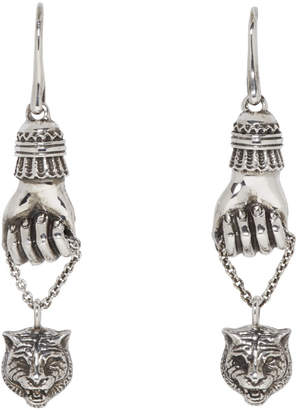 Gucci Silver Feline Pendant Earrings