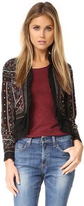 Love Sam Embroidered Jacket with Ruffle Trim $395 thestylecure.com