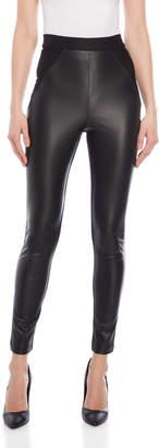 Karen Millen Black Faux Leather & Knit Leggings
