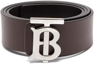 Burberry Tb Logo Leather Belt - Mens - Burgundy