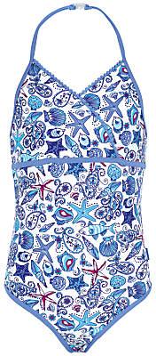 Fat Face Girls' Starfish Print Swimsuit, Blue