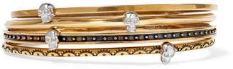Alexander McQueen - Set Of Four Gold-tone Embellished Bracelets $645 thestylecure.com