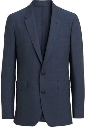 Burberry Windowpane Stretch Wool Tailored Jacket