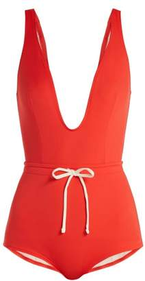 Solid & Striped The Edie Drawstring Waist Swimsuit - Womens - Red