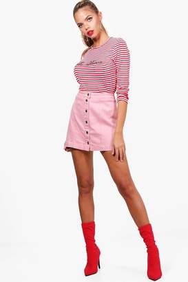 boohoo Button Through Denim Mini Skirt