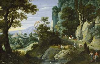 Camilla And Marc Oil Paintings Canvas Prints Oil painting 'Ryckaert Martin Paisaje quebrado y penascoso 1616 ' printing on polyster Canvas , 12 x 19 inch / 30 x 48 cm ,the best Living Room decor and Home decoration and Gifts is this Replica Art DecorativeCanvas Prints
