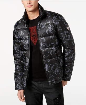 GUESS Men's Alec Quilted Splatter-Print Puffer Jacket