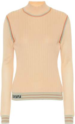 Fendi Silk knit turtleneck top