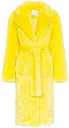 Tibi belted faux fur trench coat