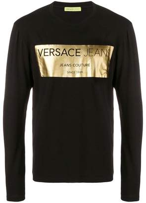 Versace metallic logo print top