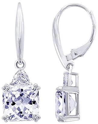 Platinum-Plated Sterling Simulated Diamonds Flanders Cut Earrings