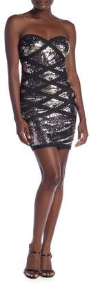 Wow Couture Sequin Design Strapless Dress