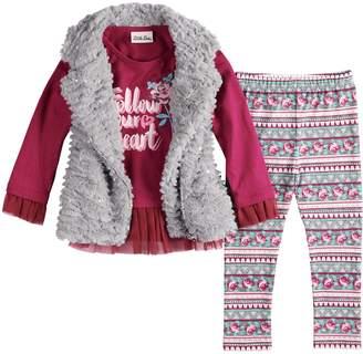 Little Lass Toddler Girl Faux-Fur Vest, Peplum Top and Floral Leggings Set