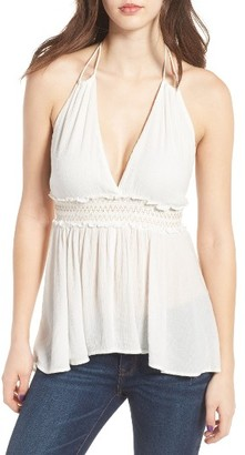 Women's Sun & Shadow Metallic Smocked Halter Top $45 thestylecure.com