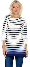 Denim & Co. Reg Perfect Jersey Ombre Stripe 3/4Sleeve Tunic
