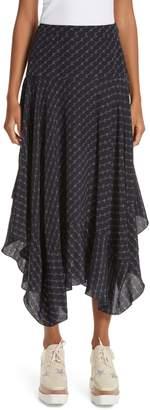 Stella McCartney Poppy Logo Print Asymmetrical Skirt
