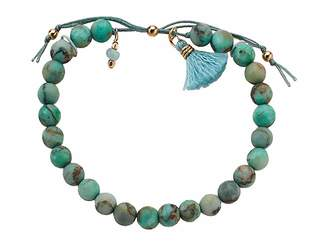 Dogeared No Worries Bracelet, Matte Seafoam Green Jasper Bead Stone Bracelet with Nylon Pull Cord