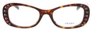 Prada Stud-Embellished Oval Eyeglasses
