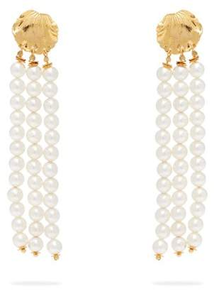 Elise Tsikis - Madera Faux Pearl Tassel Drop Earrings - Womens - White