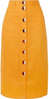 Nicholas Button-embellished Linen Midi Skirt - Orange