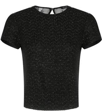 Tufi Duek lace panel tweed blouse