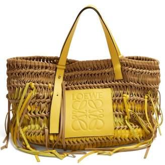 Loewe Anagram Woven Leather Tote Bag - Womens - Yellow Multi