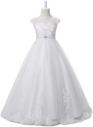 Nina Flower Girls Pageant First Communion Scoop Lace Dress