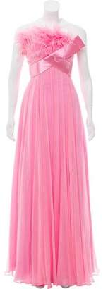 Terani Couture Silk Feather-Accented Dress w/ Tags