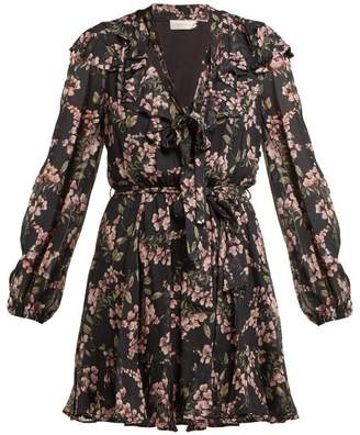 Zimmermann Fleeting Flounce Mini Dress - Womens - Black Print