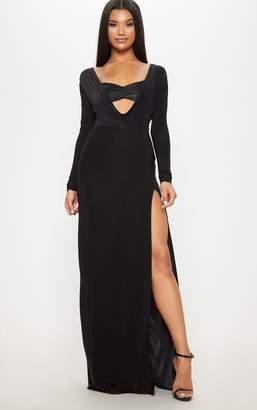PrettyLittleThing Black Slinky Cowl Satin Insert Long Sleeve Maxi Dress