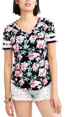 No Comment Juniors' Floral Printed Athletic Stripe Short Sleeve V-Neck T-Shirt