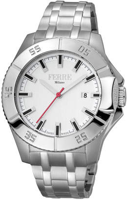 Ferré Milano Men's 45mm Stainless Steel Date 3-Hand Diver Watch with Bracelet, Steel