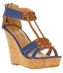 Forever Young Women's Denim T-strap With Studded Embellishments And Back Zipper Wedges