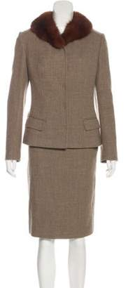 Dolce & Gabbana Vintage Virgin Wool Skirt Set Beige Vintage Virgin Wool Skirt Set