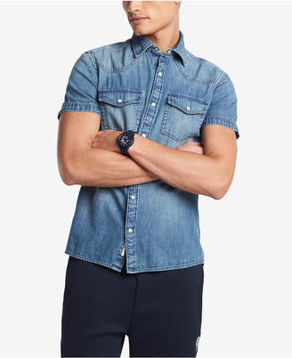 Tommy Hilfiger Men's Short-Sleeve Western Denim Shirt, Created for Macy's