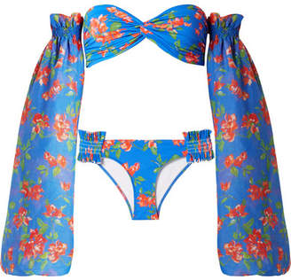 Caroline Constas Andros Floral-print Bikini And Cotton And Silk-blend Voile Sleeves - Bright blue