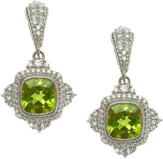 Judith Ripka Sterling Diamonique and Peridot Dangle Earrings