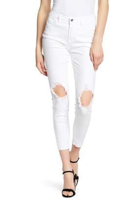 Kensie Distressed Solid Straight Leg Jeans