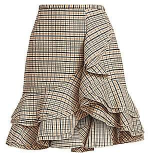 Michael Kors Women's Tiered Ruffle Plaid Stretch-Wool Skirt