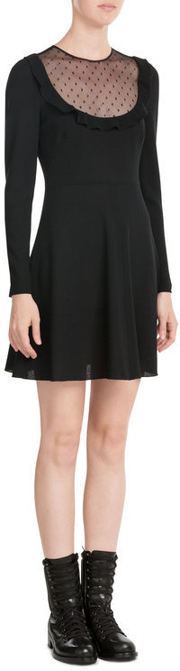 RED Valentino R.E.D. Valentino Vrigin Wool Dress with Sheer Insert