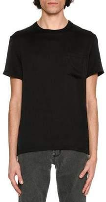 Alexander McQueen Silk Crewneck Pocket T-Shirt, Black