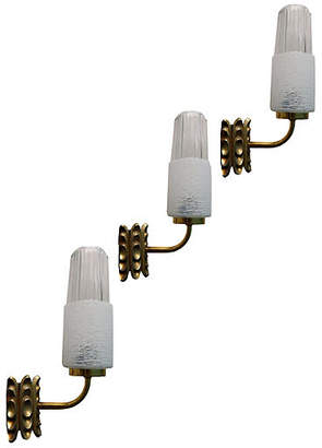 One Kings Lane Vintage 1950s French Brass & Glass Sconces - Set of 3