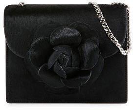 Oscar de la Renta Tro Mini Calf Hair Crossbody Bag with Flower