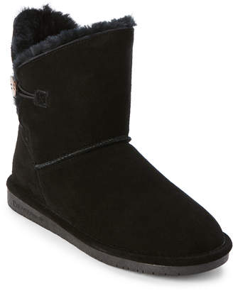 BearPaw Black Rosie Button Real Fur Boots