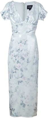 Marchesa floral fitted dress