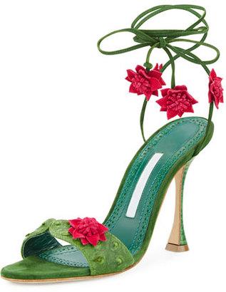 Manolo Blahnik Xacaxtus Ankle-Wrap 100mm Sandal, Green/Fuchsia $945 thestylecure.com