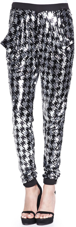 MICHAEL Michael Kors Houndstooth Sequined Pants, Black