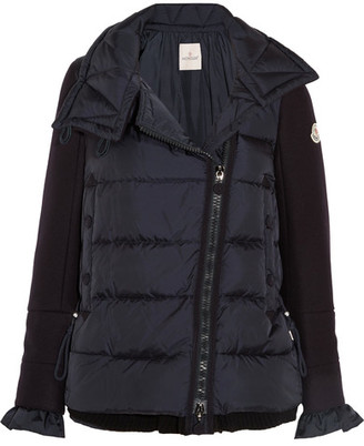 Moncler - Laurine Wool-blend And Quilted Shell Down Jacket - Navy $1,675 thestylecure.com
